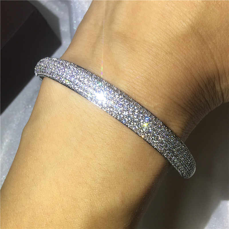 Luxury Bangle Pave setting 5A cubic zirconia White Gold Filled Engagement Wedding Bangles Bracelets for women Bridal Gift