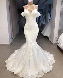 Image 3 - Lüks boncuklu Mermaid dantel düğün elbisesi seksi Cap Sleeve gelinlik özelleştirilmiş süpürme tren gelin elbise Robe de Mariee