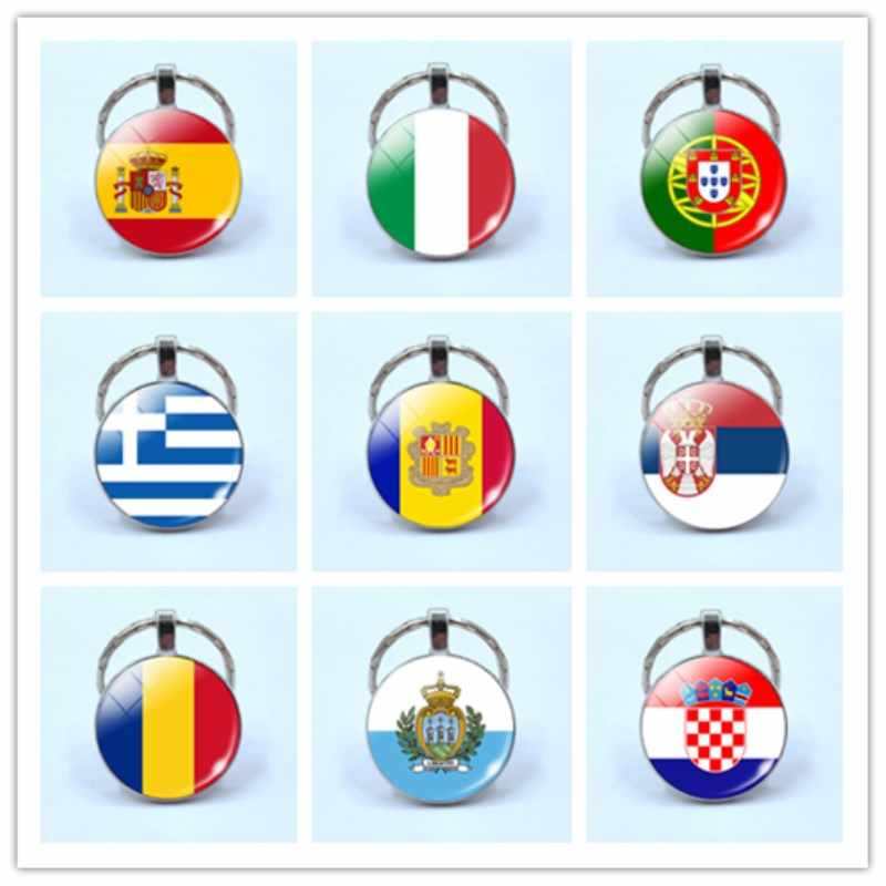 דגל תכשיטי מדינות דגל Keychain ספרד איטליה פורטוגל יוון רומניה קרואטיה אנדורה דגל מפתח שרשרת חוץ חברים מתנה