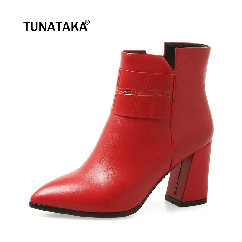 Women Genuine Leather Square Heel Ankle Boots Fashion Zipper Pointed Toe Fall Winter Bootie Black Red