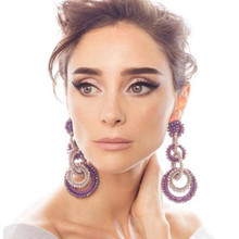 Fashion beaded silk earrings for women Baroque popular long earrings faceted crystal beads statement jewelry Christmas gift part