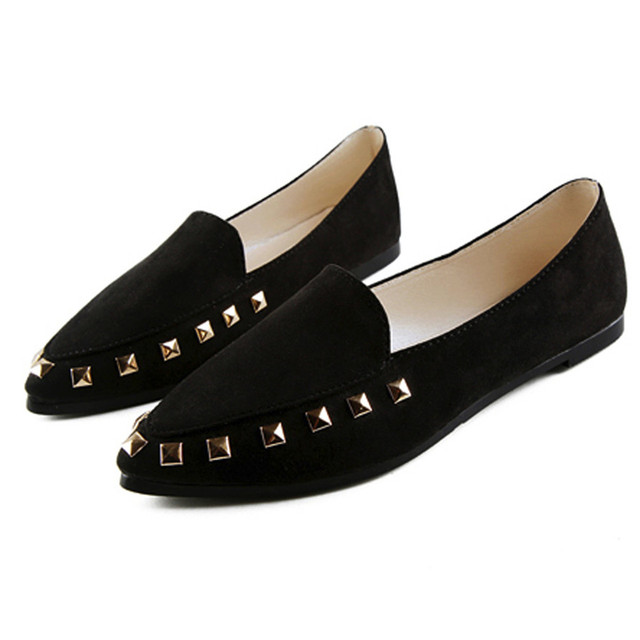 6ef16a23a33 New Arrival Fashion Women s Flats Rivet Ladies Comfy Shoes Soft Slip-On  Casual Boat Shoes Loafers Sapato Feminino zapatos mujerS