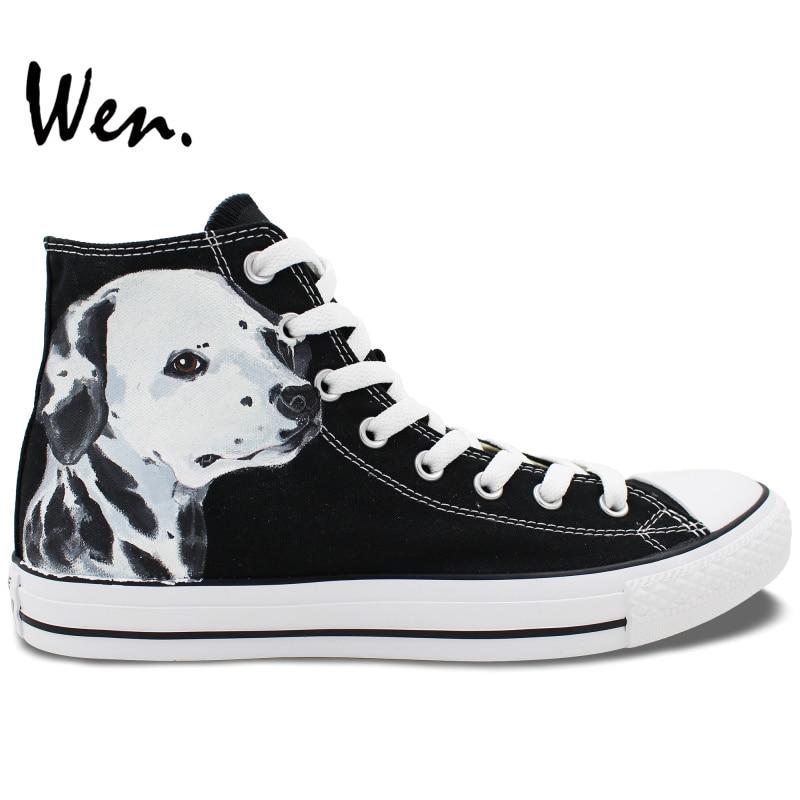 ФОТО Wen Design Custom Hand Painted Sneakers Spotty Pet Dog Dalmatian High Top Men Women's Canvas Shoes