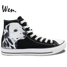 Wen Design Custom Hand Painted Sneakers Spotty Pet Dog Dalmatian High Top Men Women's Canvas Shoes