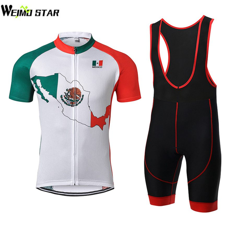 Mexico Cycling Jersey WEIMOSTAR Men Bike Short Sleeve Top Cycling Wear Tops GEL Breathable Pad Bib Shorts Suit Set Quick-Dry arsuxeo 668 535 men s breathable quick dry short cycling jersey top pants set red black l