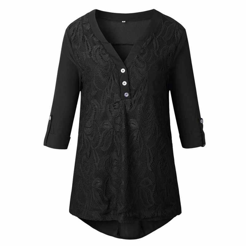 S-3XL kobiety bluzka w rozmiarze plus size z powrotem Chic przycisk Ruched styl koronki szyfonowa bluzka czarny szary bordowy dorywczo dekolt w serek koszula z długim rękawem
