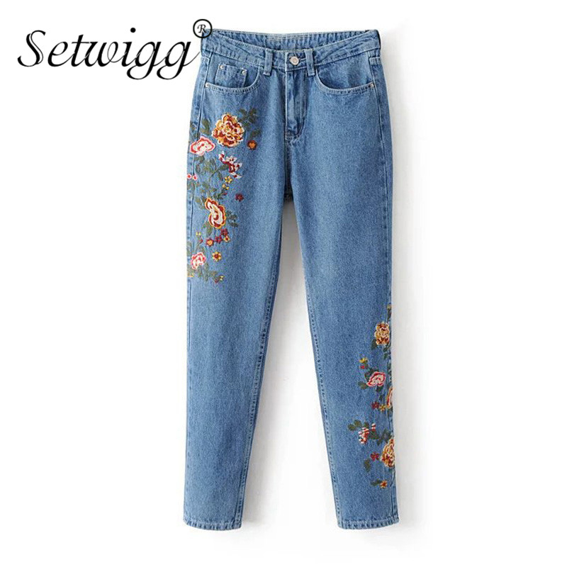 SETWIGG Womens Retro Style Casual Pencil Cotton Jeans Boyfriend Sryle Floral Embroidery Loose Jean Female Long