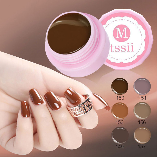 Mtssii 5 Ml Chocolate Nail Gel Series Mocha Bisque Color Coat Soak