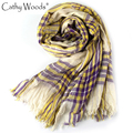 Fashion Summer 2 colors Summer Strip Tassel Vintage Scarf Purple Yellow Scarf Plaid Women Scarf Shawl Frauen Schal Scarves