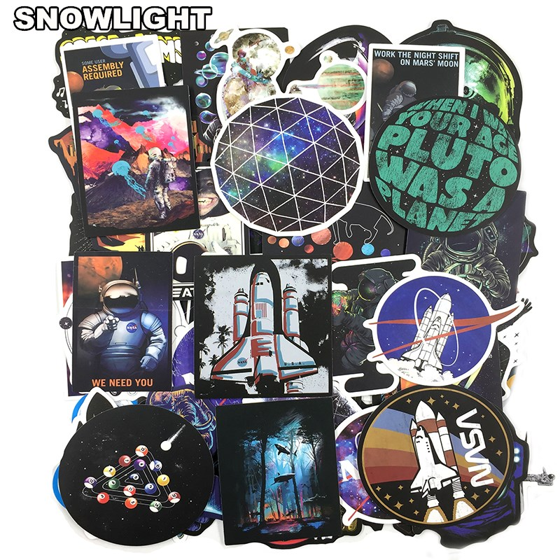 50 PCS Outer Space Sticker UFO Alien Astronaut Rocket Cartoon Stickers Gifts Toys For Children DIY Skateboard Laptop Car Phone(China)