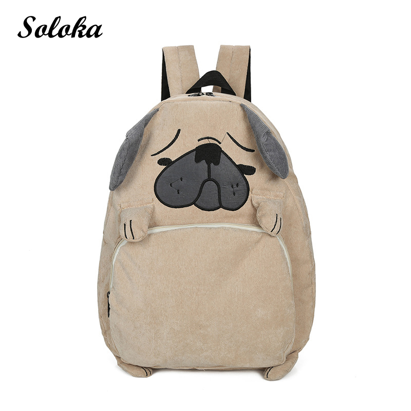 Cartoon Animal Corduroy Backpack Female Women Bags Kids School Bags Shar Pei Dog Squirrel Travel Backpacks for Adolescent Girls corduroy goes to school