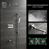 HIDEEP Solid Brass Bathroom Shower Set Hot Cool Water Shower Wall Embedded Insert Square Rainfall Hand Shower Head Shower Set