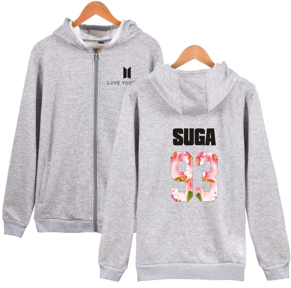 BTS Love Yourself Hoodies Men Winter Cotton Pullovers Bangtan Album Kpop Sweatshirt Men Casual Zipper Clothes