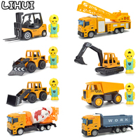 8 PCS Set Alloy Engineering Car Toys for Boys Diecast Pull Back Car Model Excavator Dump Truck Toy Vehicles Gifts for Children