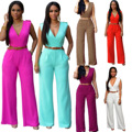 Summer High Waist Slim Pocket New Woman Jumpsuit Romper V-Neck Short Sleeve Harem Fashion Jumpsuit