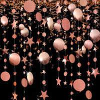 Glitter Rose Gold Star Dots Party Garlands Kits Metallic Matt Gross Big Paper Circle Bunting Banner For Wedding Party Supplies