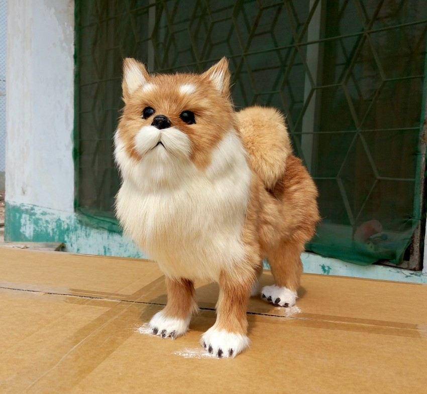 large 28x10x25 cm simulation Pomeranian toy lifelike & real furs dog model home decoration gift t163 simulation animal large 30x25 cm lovely cat model lifelike black cat toy decoration gift t473