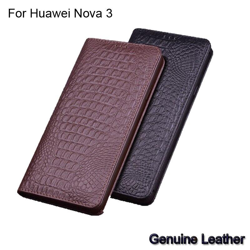 De luxe En Cuir Véritable Pour Huawei Nova 3 En Cuir Demi-paquet téléphone étui pour Huawei Nova 3 coques de téléphone antichoc Nova3