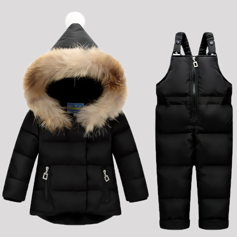 90% Duck Down Jacket For Girls Snowsuit Winter Overalls Boys Winter Clothing Set Kids Jacket Baby Suits Coat + Pant  TZ207 2016 winter boys ski suit set children s snowsuit for baby girl snow overalls ntural fur down jackets trousers clothing sets