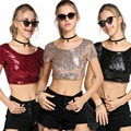 Summer 2016 Punk Rock Sequin Top Korean Women Fashion O-Neck Short Sleeve Sequined Backless Lo Shi Short T-Shirt Slim Crop Tops