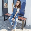 LUCKY STAR Women Jeans Jumpsuit Spring Casual Vintage Skinny Washed Bleached Scratched Ripped Denim Overall Women Clothing A125