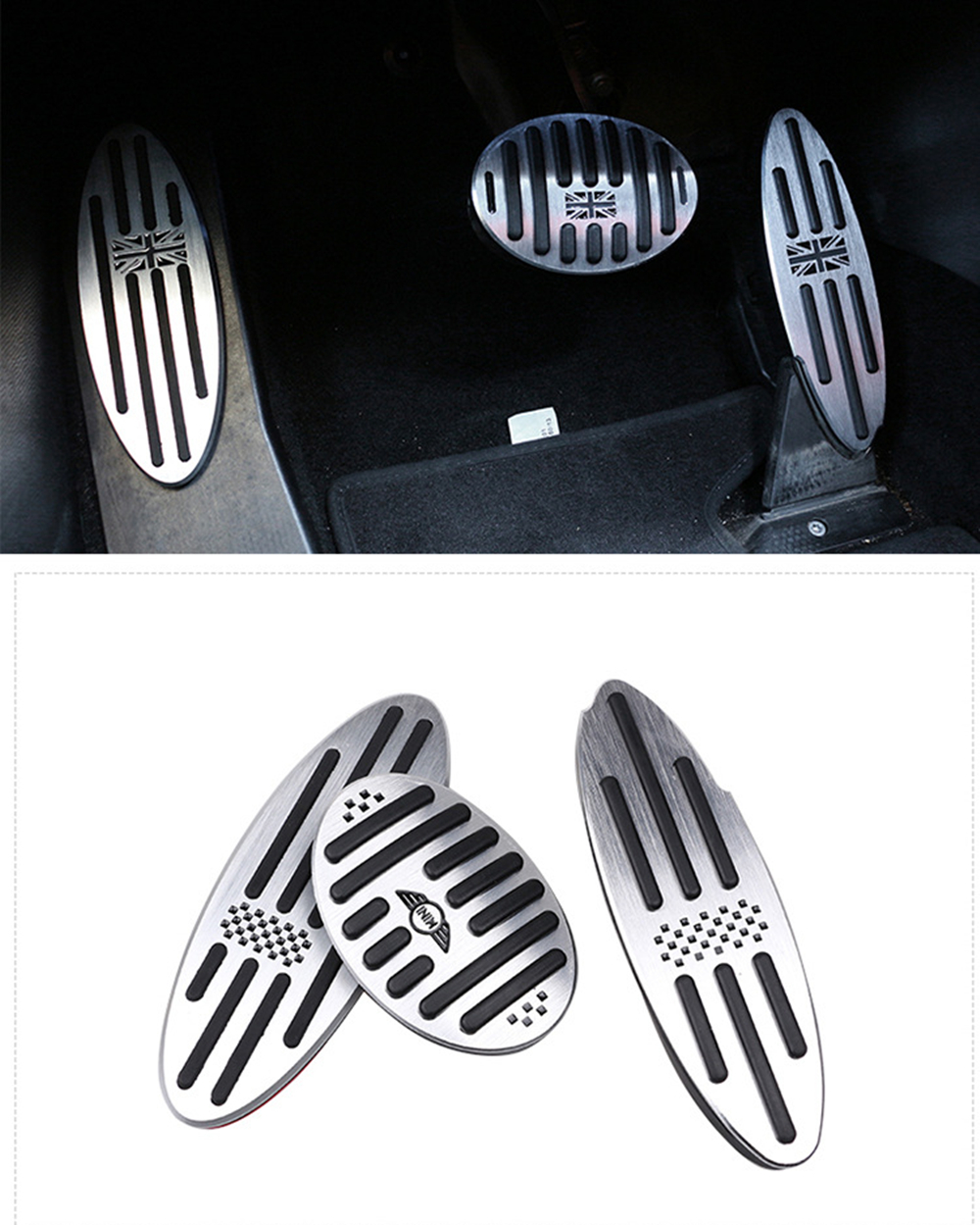 Car Accessories For R60 Mini Cooper S R55 R56 R60 R61 F54 F55 F56 F60 Aluminum Footrest Gas Brake Clutch Pedal Cover F56 F60 F55
