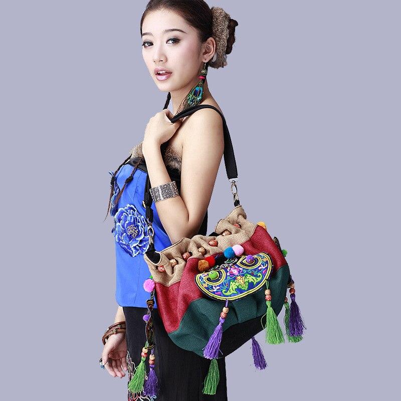 HOT Ethnic embroidery burlap women bags Vintage tassel basket bags handmade messenger bags HOT Ethnic embroidery burlap women bags Vintage tassel basket bags handmade messenger bags