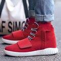 Ankle Boots Vermelhas Homens Sapatos Esportivos Casuais sapatos de Caminhada Respirável Não-Deslizamento Sapato Lace-Up Zíper Plana Botas Hombre Zapatillas Deportivas