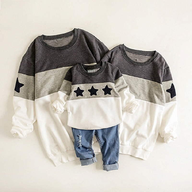 Family Shirt For Father Mother Kids Autumn Warm Pullovers Sweaters Family Matching Outfits Stars Pattern Children 18M-10T Gray