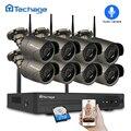 Techage 8CH 1080 P Беспроводная NVR CCTV система безопасности 2.0MP IR-CUT наружная аудио запись Wifi камера P2P комплект видеонаблюдения