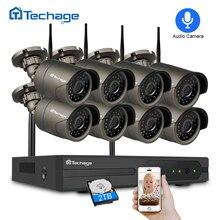 Techage 8CH 1080 P Аудио запись беспроводной видеонаблюдения системы 2MP NVR ИК Открытый Wi Fi камера P2P комплект 2 ТБ HDD