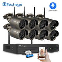 Techage 8CH 1080P Wireless NVR CCTV Security System 2.0MP IR-CUT Outdoor Audio Record Wifi Camera P2P Video Surveillance Kit