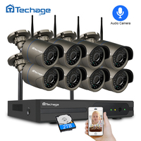 Techage 8CH 1080P Wireless NVR CCTV Security System 2.0MP IR CUT Outdoor Audio Record Wifi Camera P2P Video Surveillance Kit