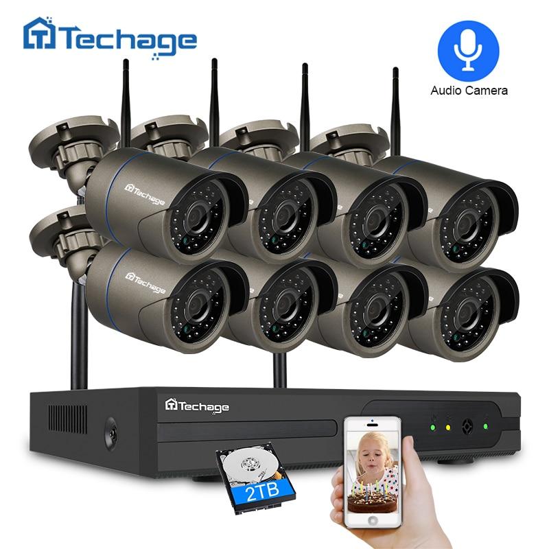 Techage IR-CUT 2.0MP 8CH 1080P NVR Sistema de Segurança CCTV Sem Fio Ao Ar Livre De Gravação de Áudio Wifi Câmera P2P Kit de Vigilância Por Vídeo