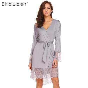 64d1a3c9faa Ekouaer для женщин пижамы халат Сексуальная ночь халаты с длинным рукавом  кружево лоскутное кимоно Ночная рубашка одежда для сна Женская