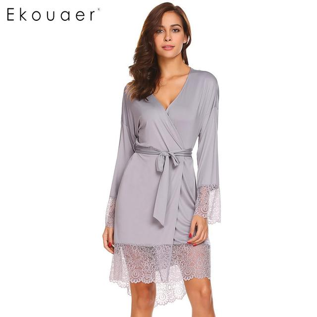 3915f2e903a Ekouaer Women Sleepwear Robe Sexy Night Robes Long Sleeve Lace Patchwork Dressing  Gown Kimono Robe Nightgown Female Nightwear