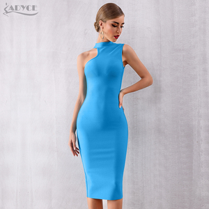 Image 4 - ADYCE 2020 nouveau été bleu Bandage robe femmes Sexy sans manches réservoir moulante Club robe élégante chaude célébrité robe de soirée Vestido