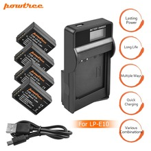4X LP-E10 LPE10 LP E10 Camera Battery Bateria Batterie AKKU+LCD Charger for Canon 1100D 1200D 1300D Rebel T3 T5 KISS X50 L10