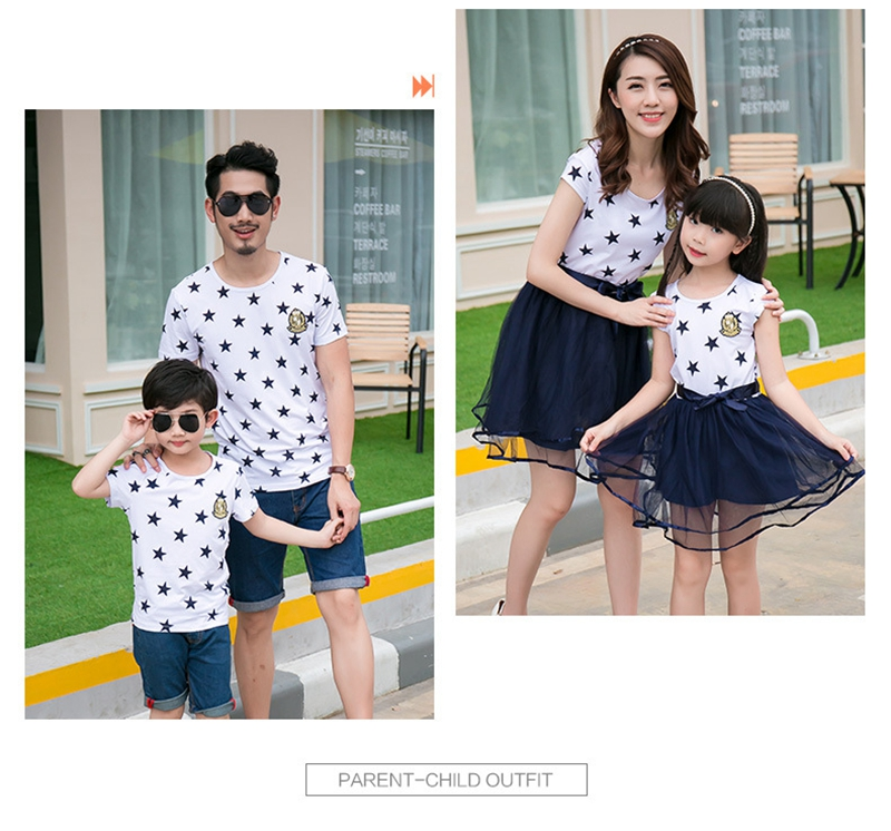 HTB10vluac vK1Rjy0Foq6xIxVXaP - Summer Cotton Family Matching Outfits Mom And Daughter Mesh Dress Dad Son Blue White Stars Short T-shirt Children Clothing