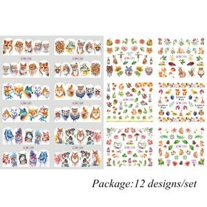 Image 5 - 12pcs Cute Animal Full Wraps Nail Stickers Water Decals DIY Fox Wolf Owl Rabbit Transfer Cartoon Decoration Slider JIBN1285 1296