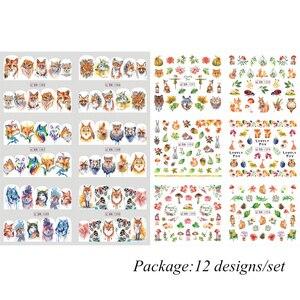 Image 5 - Adesivos de decoração para unhas 12pçs, adesivos bonitos para unhas, decalques de água, diy, raposa, wolf, coruja, desenho animado, deslizante de decoração JIBN1285 1296
