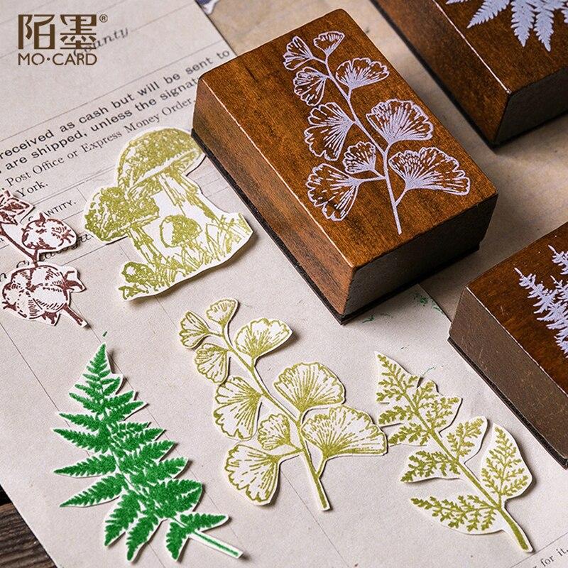 Image 4 - XINAHER ヴィンテージの森植物ムーン装飾スタンプ木製ゴムスタンプためスクラップブッキング文房具 DIY クラフト標準スタンプ    グループ上の ホーム
