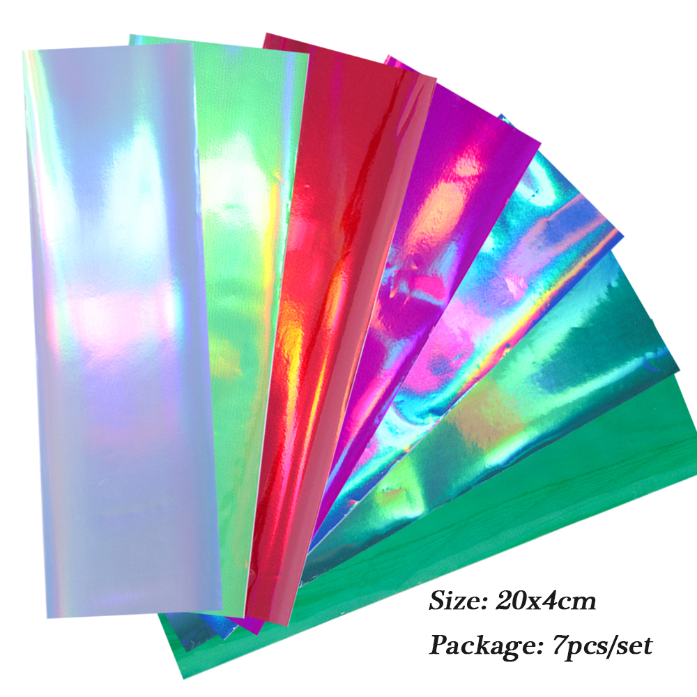 Image 3 - 7pcs Holographic Nail Foil Colorful Transfer Stickers Starry Decals Sliders for Nail Art Decoration Tips Manicure Tools BEA07-in Stickers & Decals from Beauty & Health