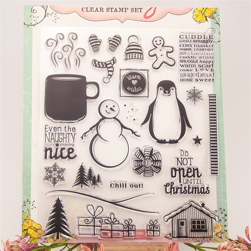 winter season diy scrapbooking photo album Transparent Clear Silicone stamp for wedding gift christmas paper card LIN145 lovely bear and star design clear transparent stamp rubber stamp for diy scrapbooking paper card photo album decor rm 037