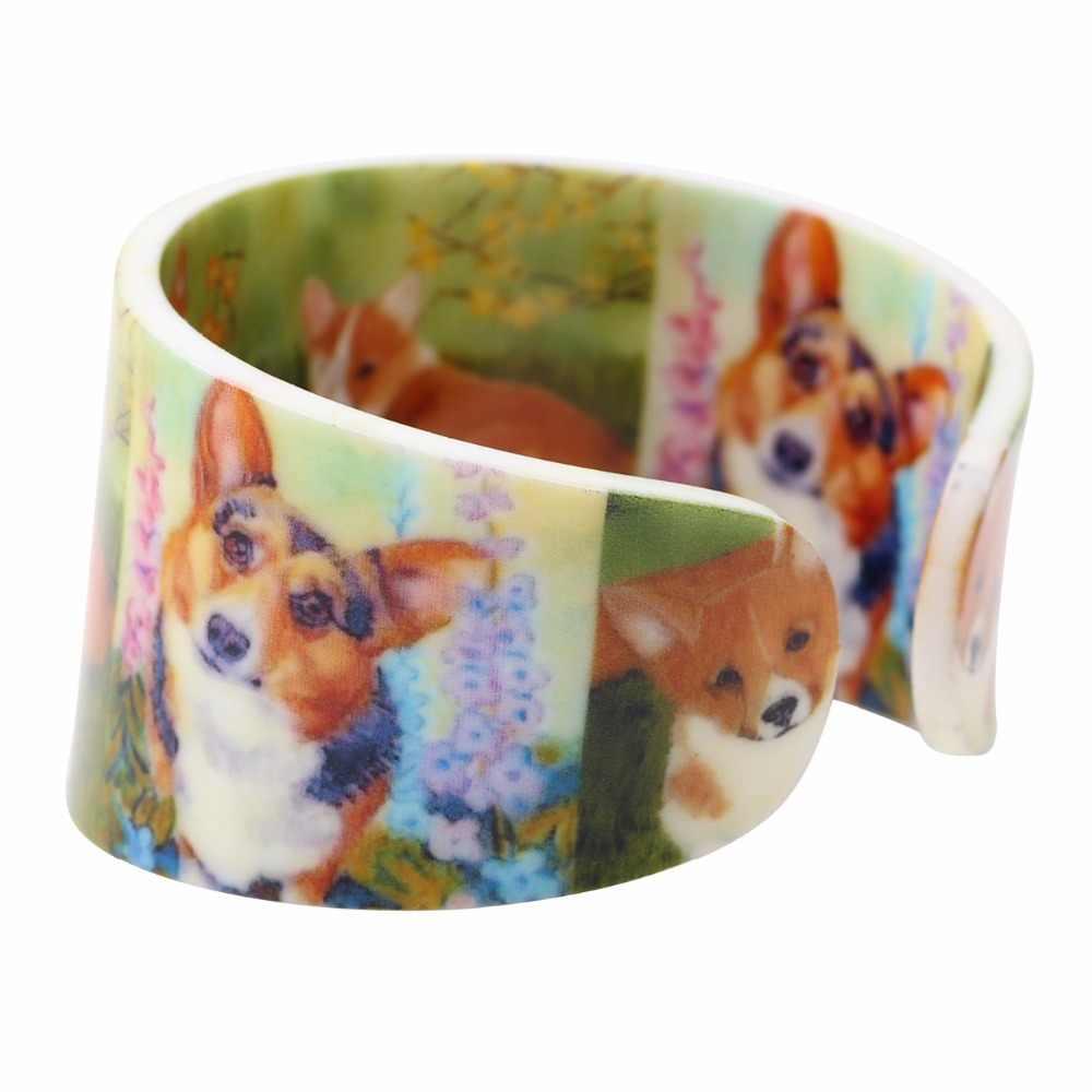 Bonsny Acrylic Rộng Ngồi Corgi Dog Bangles Vòng Đeo Tay Mới Lạ Động Vật Trang Sức Cho Phụ Nữ Cô Gái Người Yêu Vật Nuôi Đảng Phụ Kiện Quà Tặng