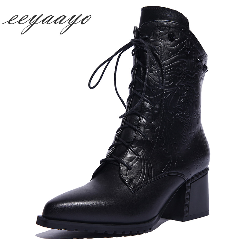 2018 New Genuine Leather Winter Women Ankle Boots High Heel Round Toe Lace-Up Sexy Women Cow Leather Shoes Black Martens Boots 2017 new fashion lace up women boots genuine leather square heel black autumn winter sexy brand ladies ankle boots women shoes