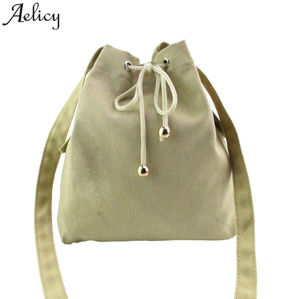 Aelicy 2018 Hot New Fashion light high quality Women Fashion Canvas Drawstring bag Shoulder Bag Large Tote Ladies Purse