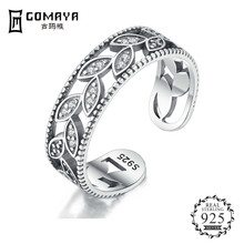 GOMAYA Authentic 925 Sterling Silver Zirconium Leaf Adjustable Finger Rings for Women   Ring Jewelry цена и фото