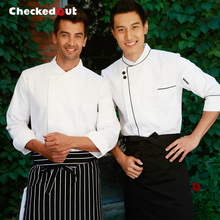Top quality Checkedout cook suit long-sleeve work wear work wear autumn and winter clothing cook