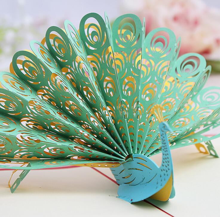 New 3D Pop Up Greeting Card Peacock Birthday Easter